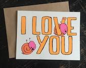 i love you snail greeting card, snail valentine, snail love, cute valentine