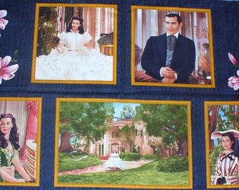 Gone with the Wind Fabric, Gone with the Wind, Realistic Pictures, By the Panel, Scarlett and Rhett, Fabric Panel