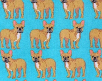 Bulldogs Fabric, French Bulldogs, Dogs on Blue, Cotton Fabric, By the Yard