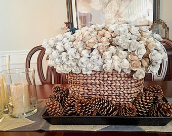 40 Dozen Paper Flowers - 480 Piece Vintage Style Book Paper Flowers - Stemmed Paper Roses - Home or Party Decorations