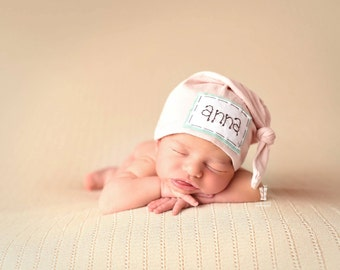 YOU CHOOSE COLOR: Baby name hat, personalized hat, knot beanie, photography prop, name hat, knots, baby shower gift, hospital hat