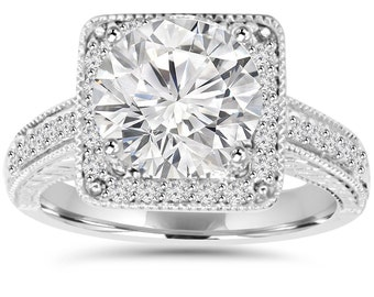 2.40CT Diamond Halo Vintage Engagement Ring 14K White Gold