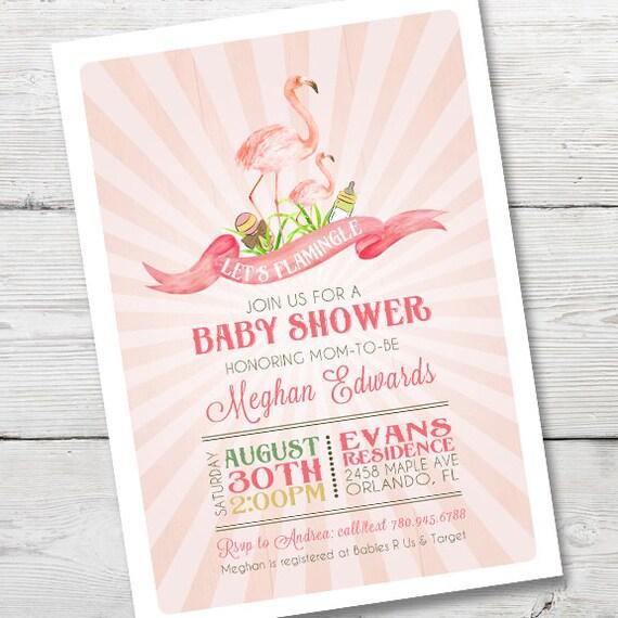 baby shower invitation pink flamingo shower invitation flamingo baby