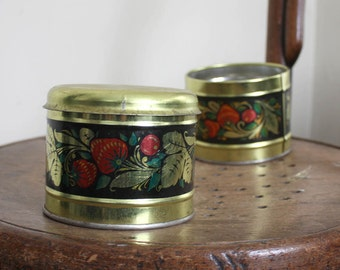 A pair of Tin Kitchen Containers from Russia 1980s.