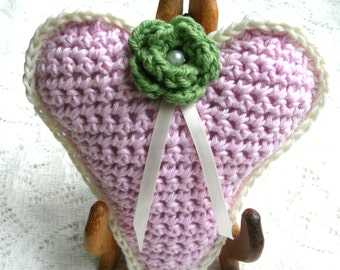 Pink Crochet Heart Decoration –Stuffed Rustic Heart Decoration - Large Crochet Ornament - Friend Gift