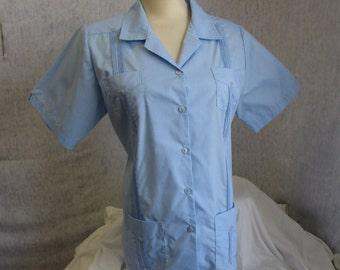 80s 2XL Mojito Lady Guayabera Women's S/S Shirt Sky Blue