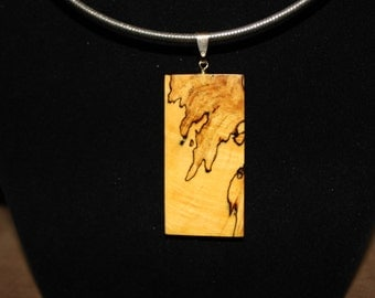 Spalted Maple Wood Necklace/Pendant/Slide
