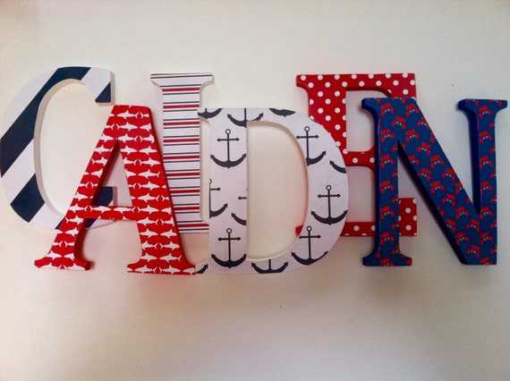 Items Similar To Nautical Themed Wooden Letters For
