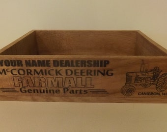 Farmall Dealer Crate. Personalized. Vintage Style. Aged Wood