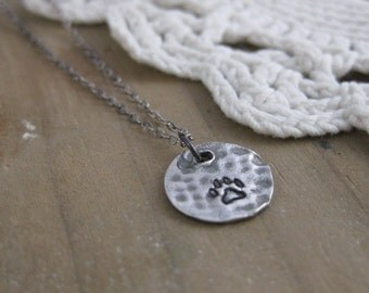 Bitty Paw Print // Sterling Silver Pendant Necklace // Antiqued // Oxidized // Nature Inspired // Hammered // Ready to Ship // Layering
