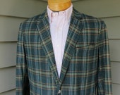 vintage 1950's Ivy Style India Madras sportcoat. 3 / 2 roll 'sack' jacket - Full skirt. Size 42 - 44. Made in England