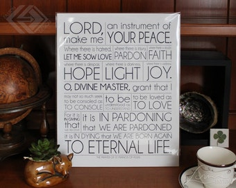 St. Francis of Assisi Prayer - Inspiration Poster Print - 8x10, 11x14, 16x20, 20x24, 24x36