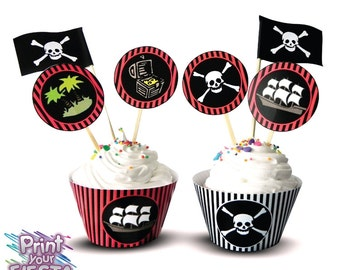 Pirate Adventure Cupcake Kit - editable digital party set by Print Your Fiesta - cupcake wrappers, circle toppers, flags, Free shipping