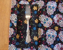 Folkloric Sugar Skulls Table Linens - Table Cloth - Napkins - Placemats - Table Runner - Alter Cloth - Día de Muertos  Day of the Dead
