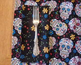 Sugar Skulls Table Linens - Table Cloth, Napkins, Placemats, Table Runner, Alter Cloth- Día de los Muertos, Day of the Dead, Folkloric Skull