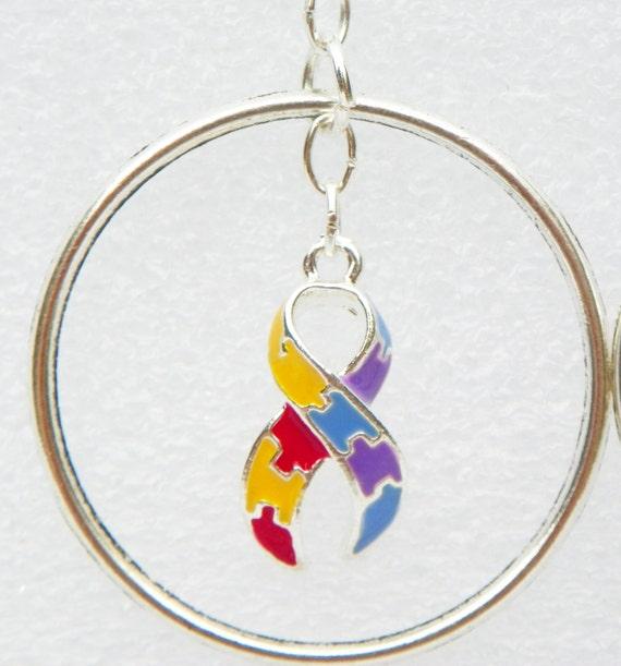 autism ribbon earrings autism hoop earrings autism awareness