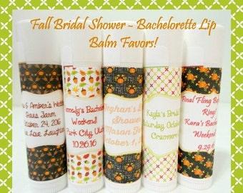 SALE FALL Bridal Shower Lip Balm - Fall Bachelorette Lip Balm Favors - Fall Favors - Custom Lip Balm - Set of 25