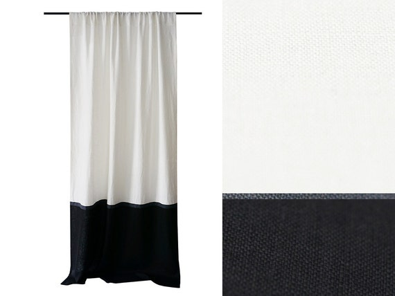color block curtains black and white linen by lovelyhomeidea