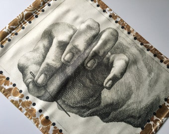 Tapestry Wall Panel, Hand with Needle || Sueded Cloth, Home Decor, Art for your Wall, Window Treatment, Curtain, Sewing, Etching, Needlework