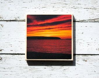 Navy Beach Sunset Coasters, Original Photography Coasters, Navy Beach, Montauk, Long Island NY