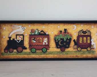 Halloween Folk Art Hand Painted Tray, Spooky Train, Primitive Painting, Skeleton, Witch, Ghost, Pumpkinhead, Spiders, Webs,  MADE TO ORDER