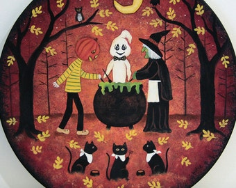 Halloween Folk Art, Black Cats Waiting for Dinner,  Hand Painted Wood Plate,  Primitive Painting, Witch, Ghost, Pumpkinhead Cooking Dinner