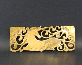 Vintage Amazing Brass Unicorn Trivet (E6909)