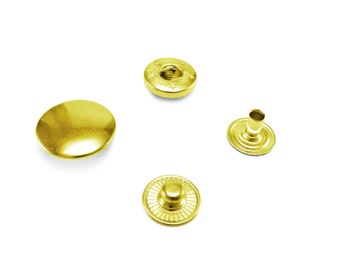15 / 12 mm Solid brass Poppers snap fasteners press studs gold Sewing Rivet AU7