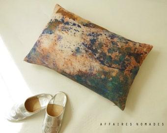 """Coral pink pillow / Sea seen by hill / Linen oblong art pillowcase 14""""x 22"""" ...  /  FRAGMENTS"""