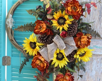 Fall Sunflower and Peonies Western Lariat Rope Wreath with burlap bow / yellow and burnt orange autumn flowers o3 Cowboy Lasso Wreath