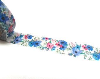 Blue and Pink Flowers Washi Tape - Floral Washi Tape