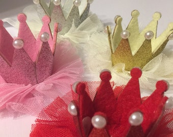 Crown Princess Hair Bow headband tulle Boutique Handmade Red Gold Silver or Pink