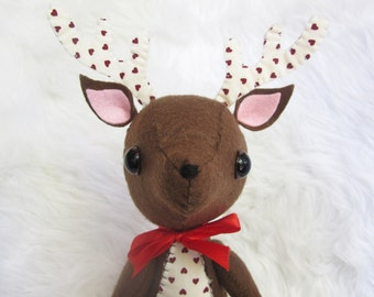 Large Brown Felt Plushie Reindeer with Red Hearts on Tummy