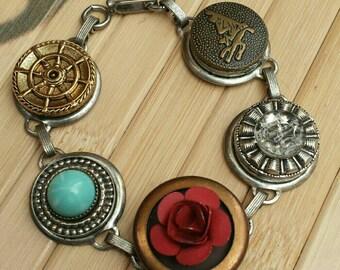 Button bracelet, upcycled bracelet, brooch bracelet, rhinestone bracelet, flower bracelet