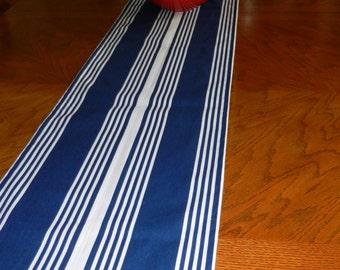 Table Runner Navy White Stripe, 13 x 78 inches  Nautical Decor, Wedding Decor, Shower,  Kitchen, Dining Table Runner