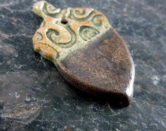 Bronze Brown Ceramic Acorn Pendant
