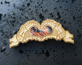 All love abalone inlay wood pin