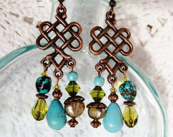 Copper turquoise earrings, bohemian copper chandelier earrings