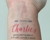 SALE 10 Bachelorette Tattoos, Team Bride - Custom