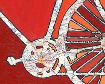 San Antonio - small print - featuring New Braunfels, San Marcos, Alamo, Texas bicycle art print, bike map, cycle art, gift for him
