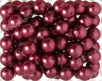 20mm - Pearl Metallic Deep Crimson Red Gumball Beads, Burgundy Maroon Chunky Pearl Beads, 20mm Pearl Beads, Pearl Gumball Beads, 2MM Hole