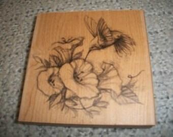 Hummingbird & Flowers Rubber Stamp