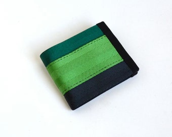 Men's Vegan Wallet - Green and Black Seatbelt Webbing - Velcro Wallet (SBW-V3)