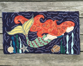 Original, Primitive, Hand Hooked Large Rug by Loop by Loop Studio - Deep Sea Mermaid - FREE SHIPPING to USA with Coupon Code