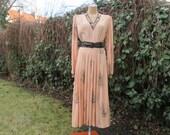 Long Dress Vintage / Peachy / Salmon / Size EUR44 / UK16