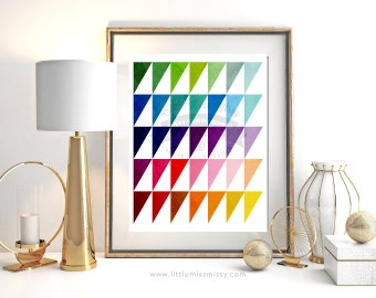 Triangle, Geometric Colorful Art Print, Multicolor, Modern Home Decor by Little Miss Missy