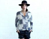Summer SALE Button Down Shirt, Patchwork Print
