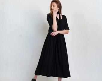 Summer SALE Placket Eyelet maxi dress,black.