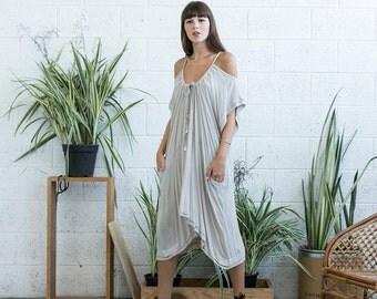 Summer SALE Cold shoulder cotton dress, midi off shoulder dress, open shoulder midi dress, ivory midi dress.