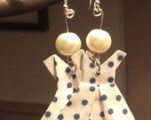 Blue Polka Dot Origame Dress Earrings